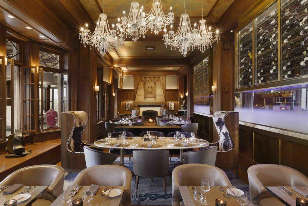 The elegant Champlain Restaurant dining room