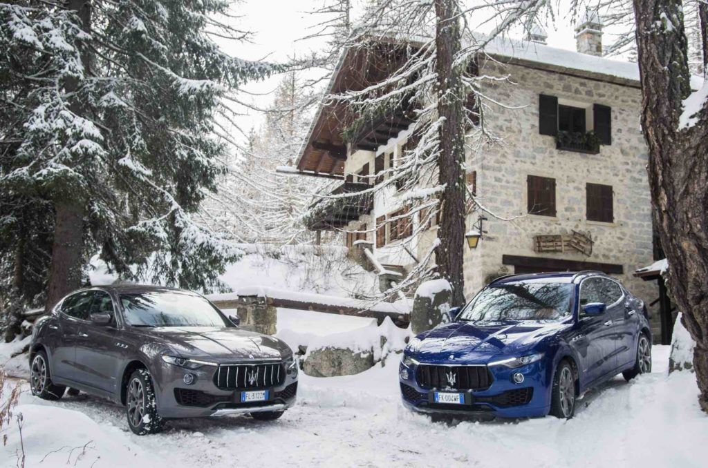 Maserati Marriott winter scene in front of Italian resort
