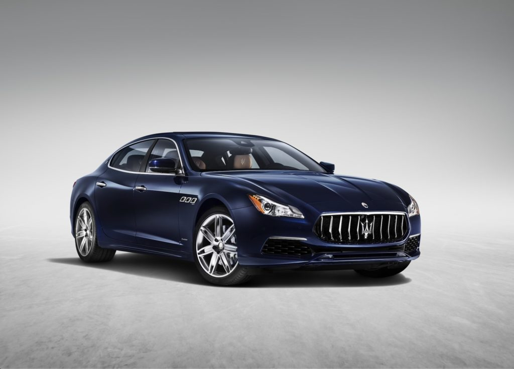 Maserati Quattroporte is ranked one of the top Italian luxury cars seen here in a showroom