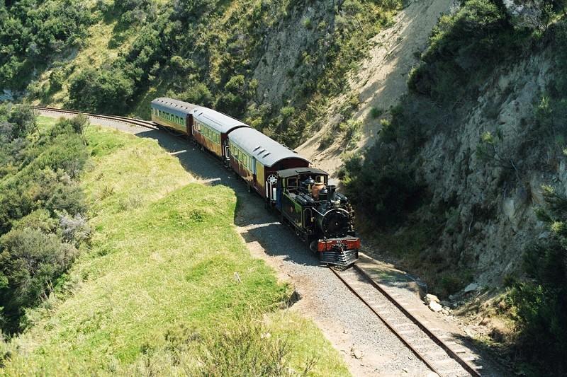 Vintage steam train running in Gisborne New Zealand