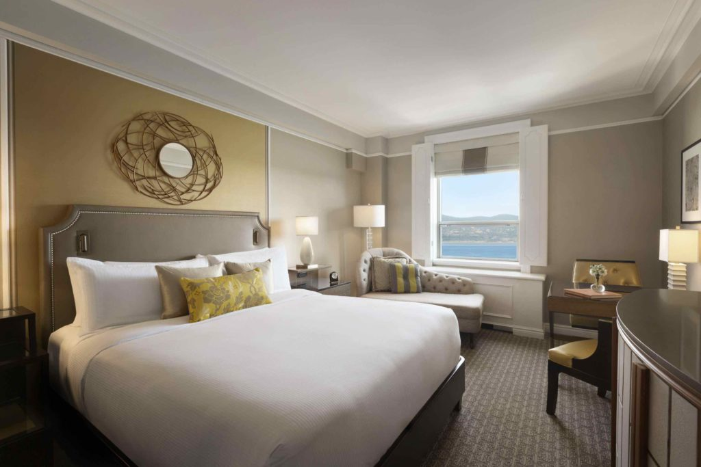 Chateau Frontenac luxury bedroom with view over the river