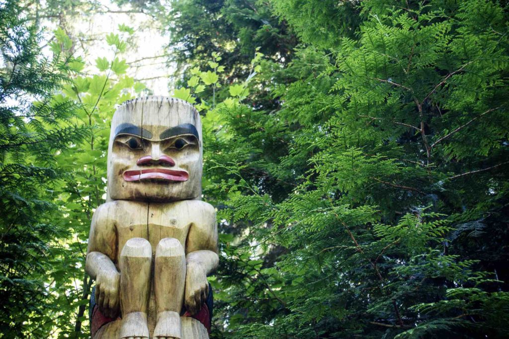 Fun things to do in Vancouver include visiting the totem poles in Stanley Park, show here