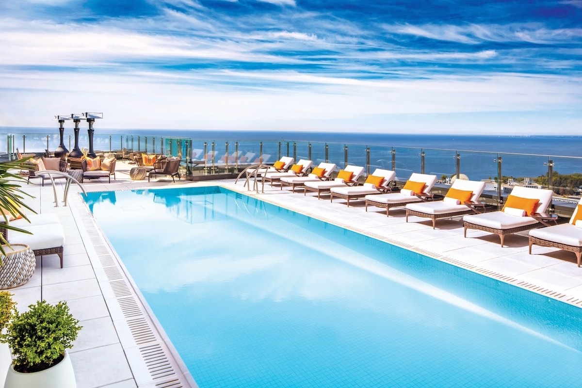 View from the rooftop pool at Hotel X over Lake Ontario