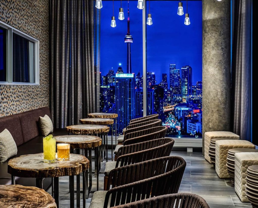 The view from the cocktail bar at Hotel X over the city of Toronto at night