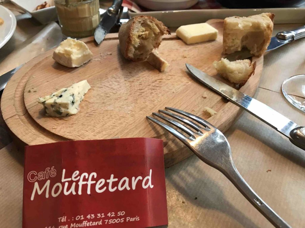Cafe Le Mouffetard Table pic with cheese and bread in the best Paris street markets