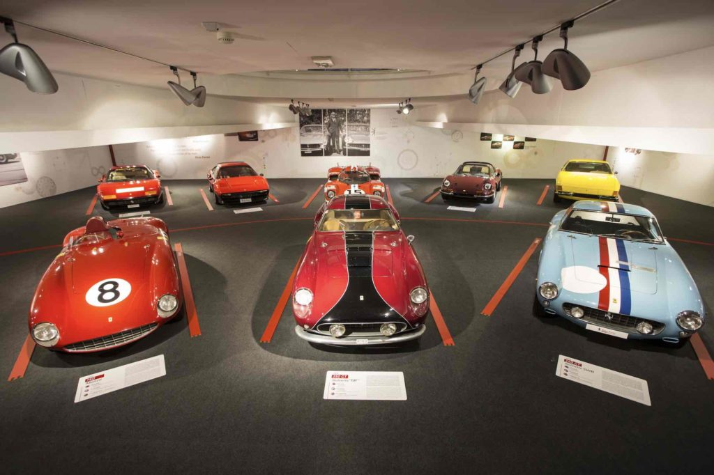 Cars on display at the Things to do at the Ferrari Museum exhibit