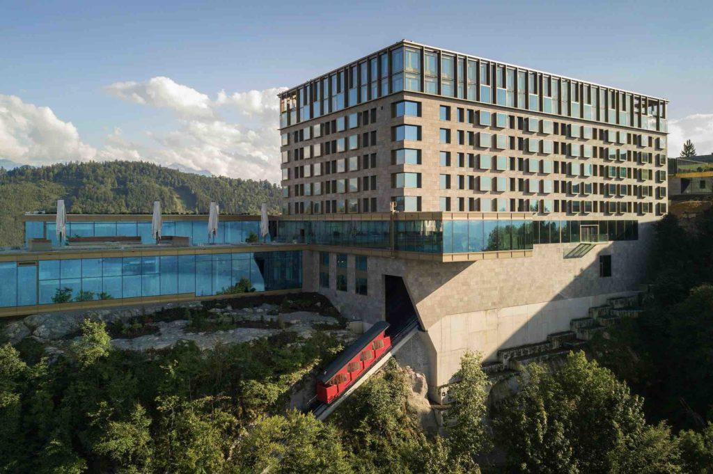 Main Image-Burgenstock Resort exterior showing funicular railway