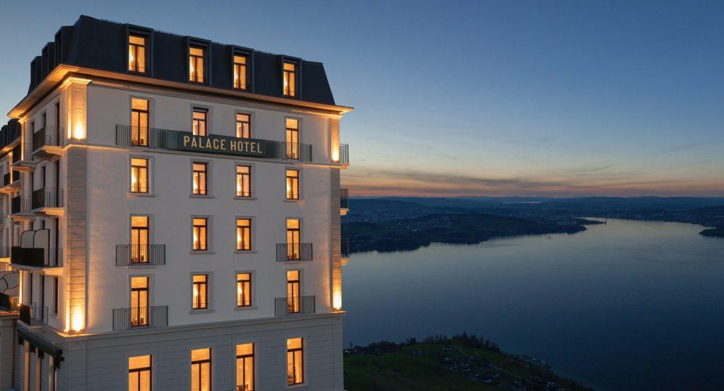Palace Hotel Burgenstock Resort view at night