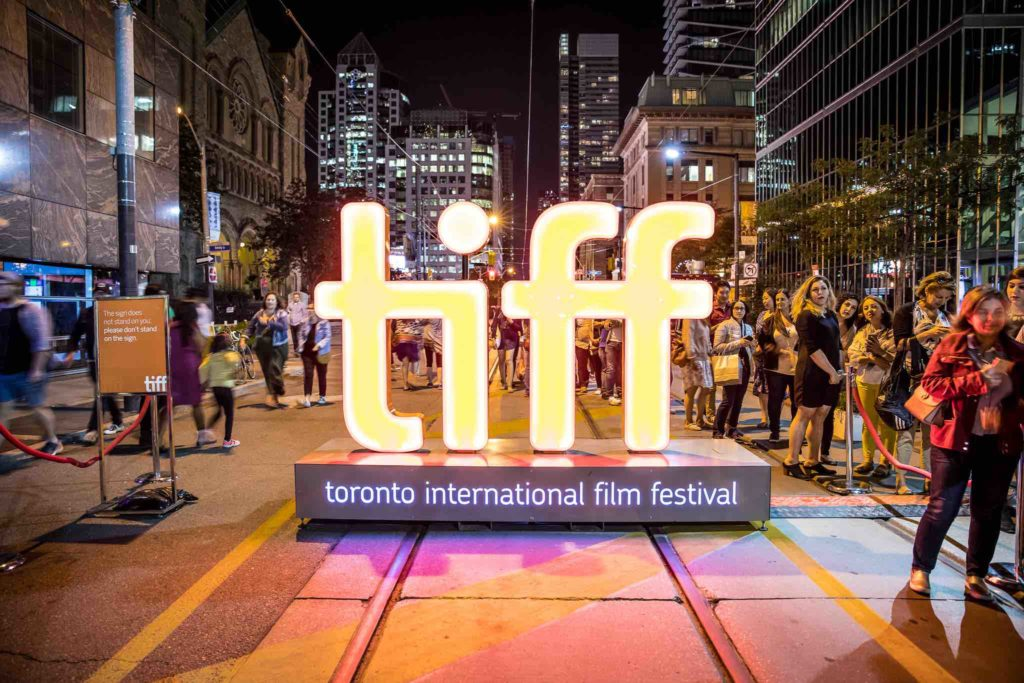 Toronto International Film Festival neon logo at night for one of the top film festivals in Canada