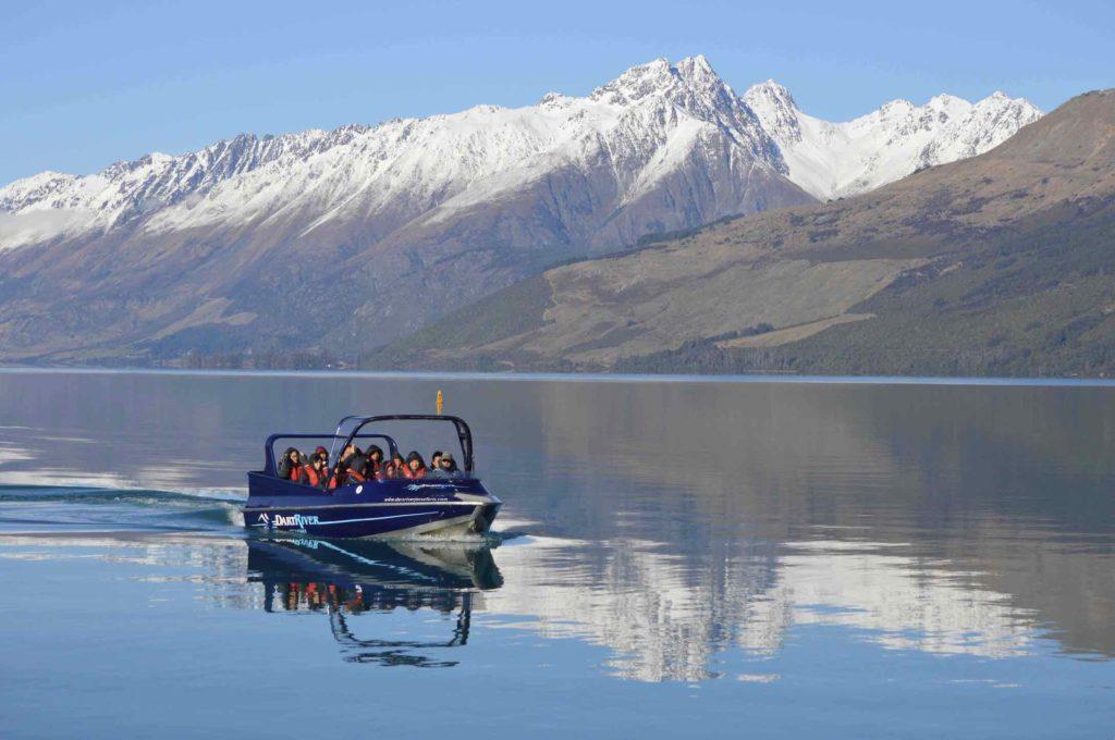 The Dart River jet boat on Lake Wakatipu before heading up river