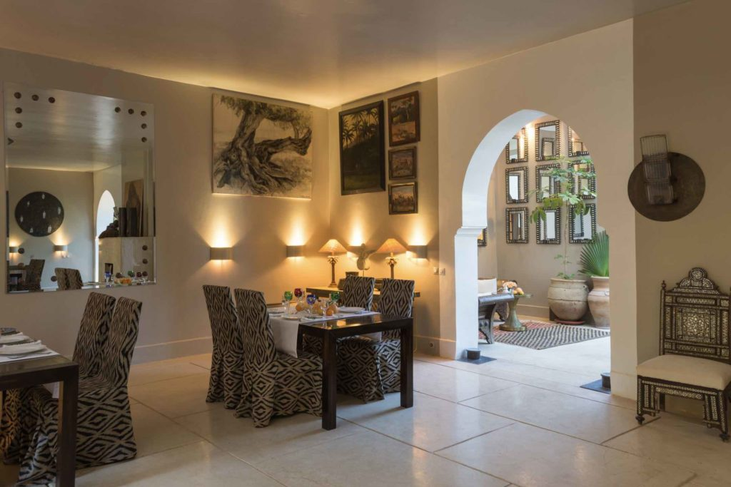 The dining room at Jnane Tamsna Boutique Hotel