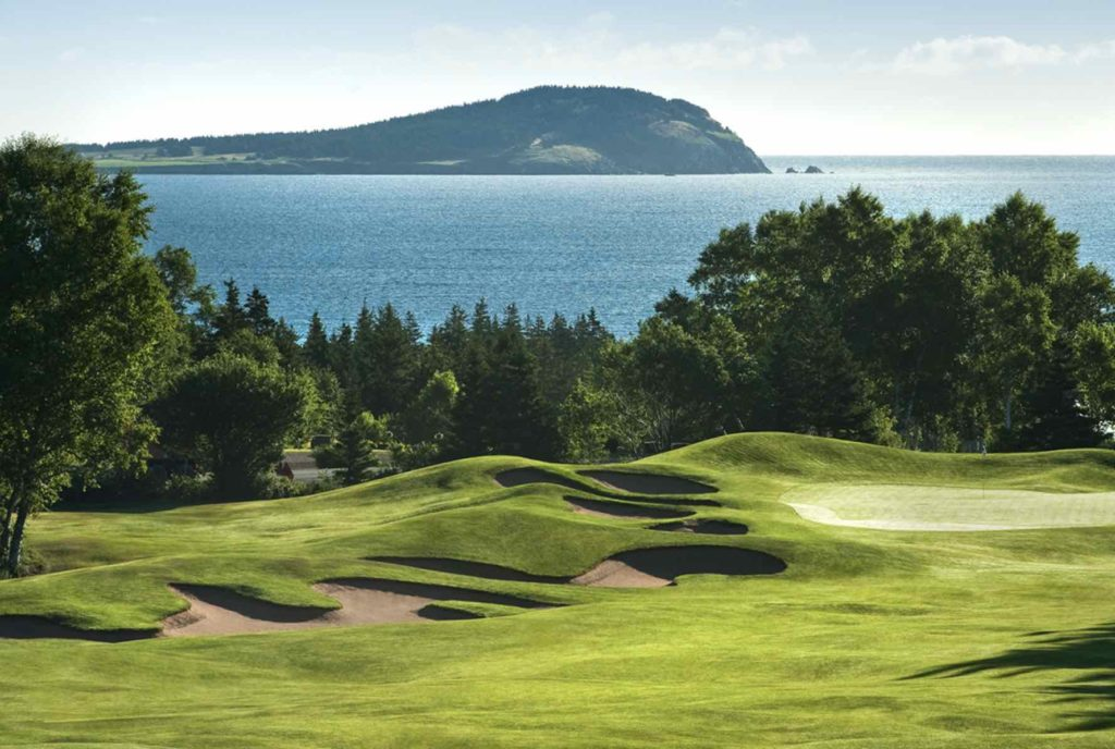 The golf course at Keltic Lodge with ocean view