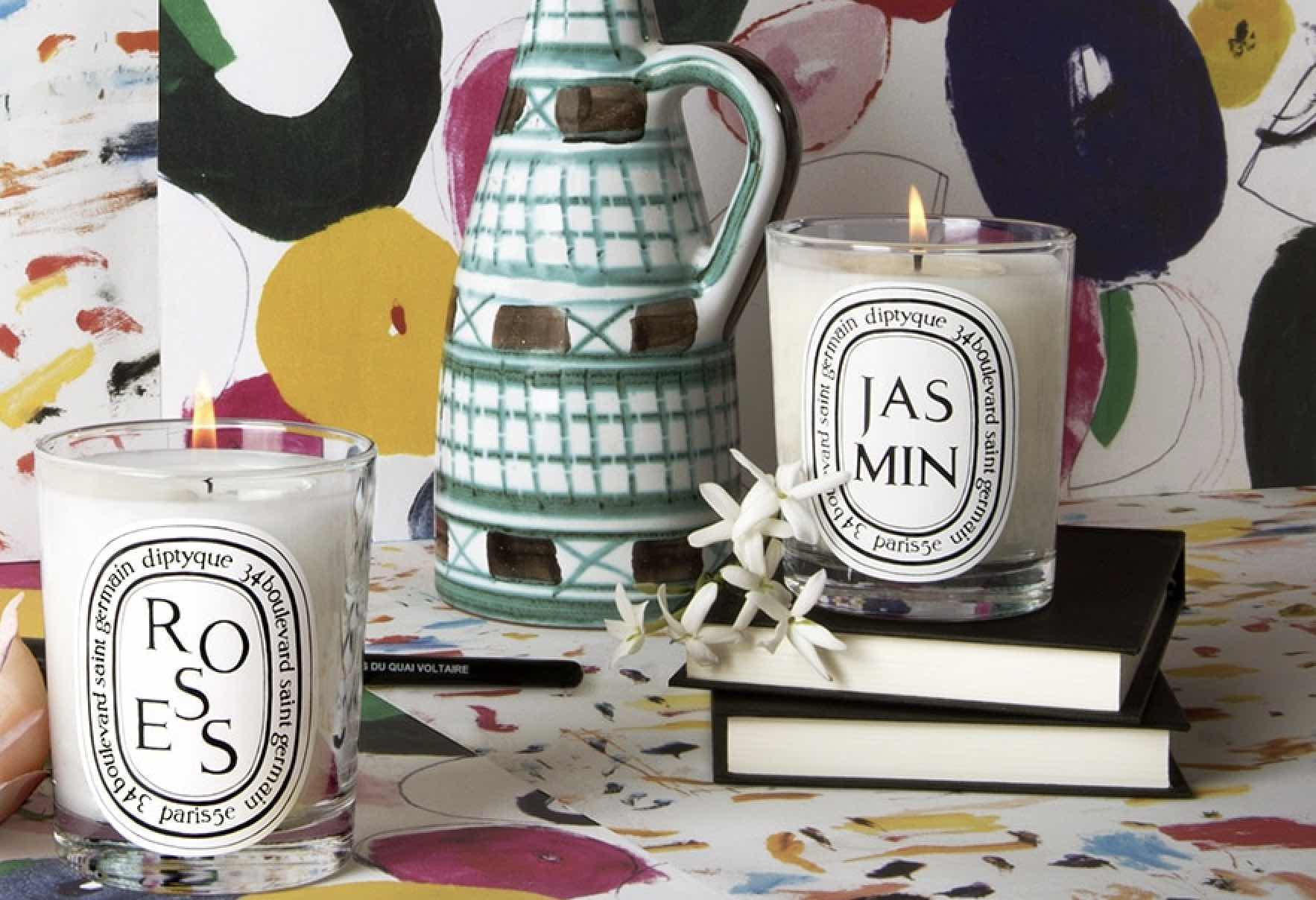 Diptyque candles on display in store