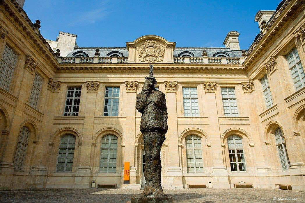 Museum of the Art and History of Judaism  courtyard with statue one of the top things to do in le Marais
