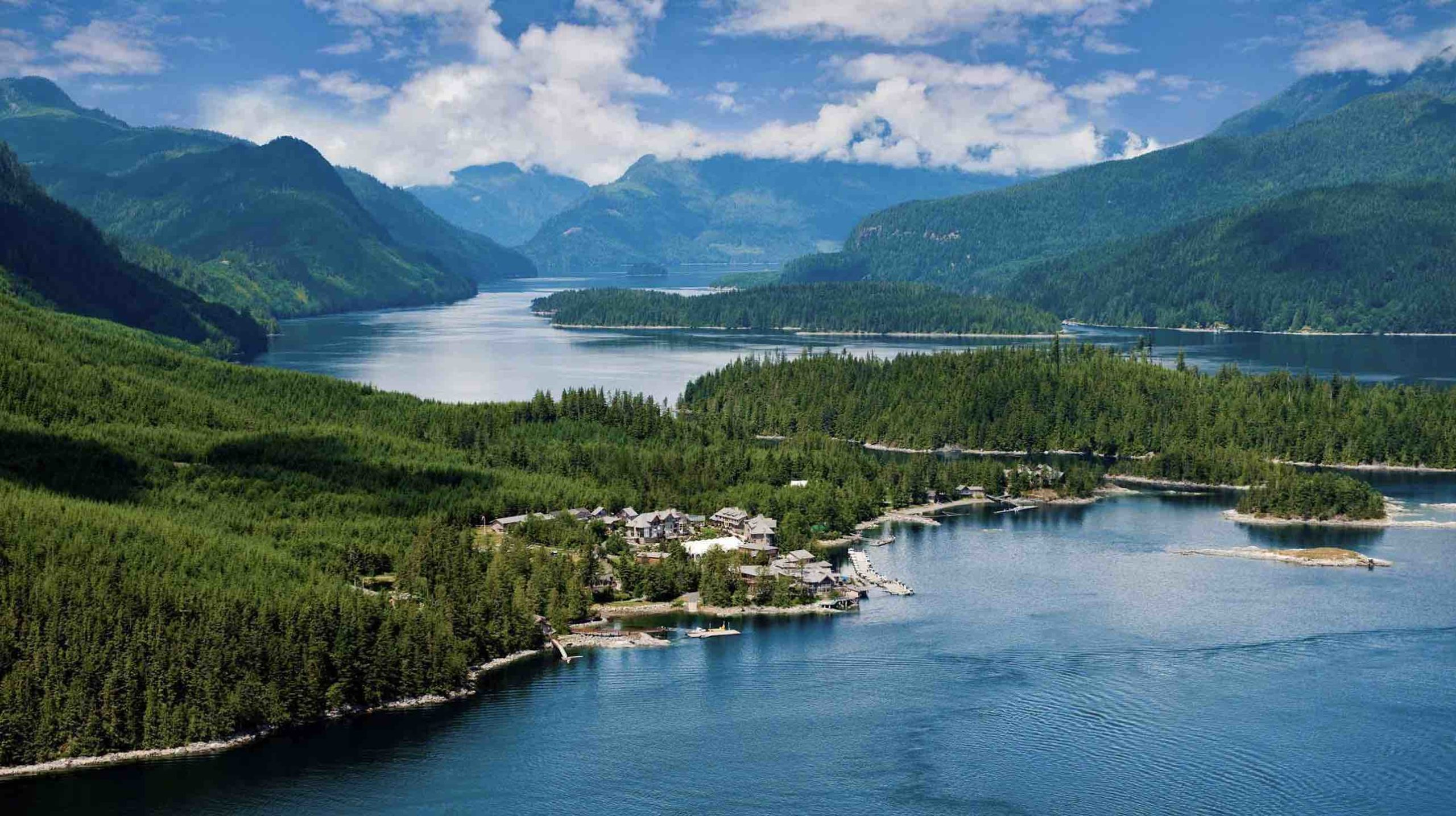 An aerial view of Sonora Resort in BC