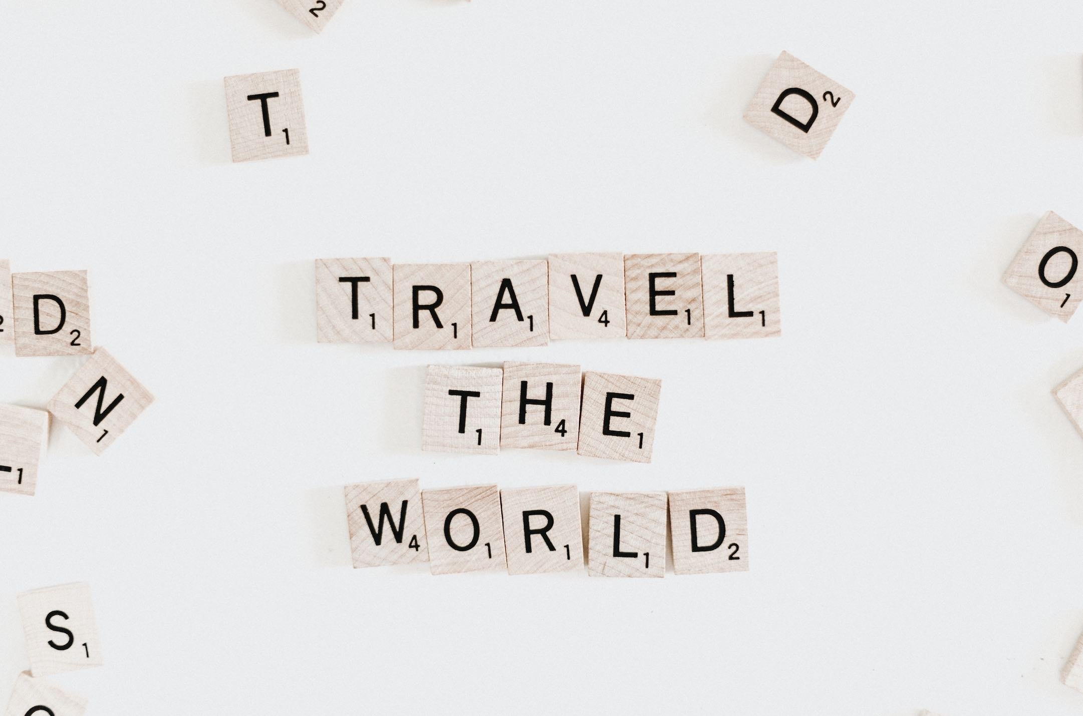 Top Virtual Travel Sites with scrabble board and letters