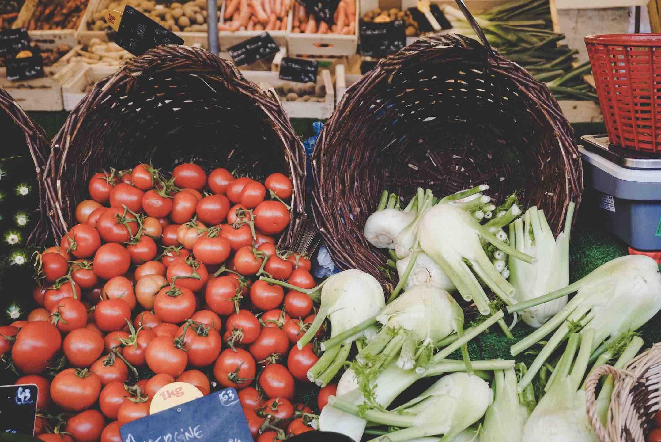 Fresh vegetables on display at Marche des Enfants Rouge