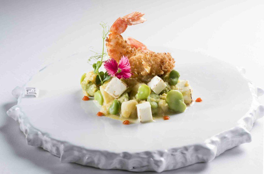 Pachacamac restaurant dish showing shrimp and vegetables