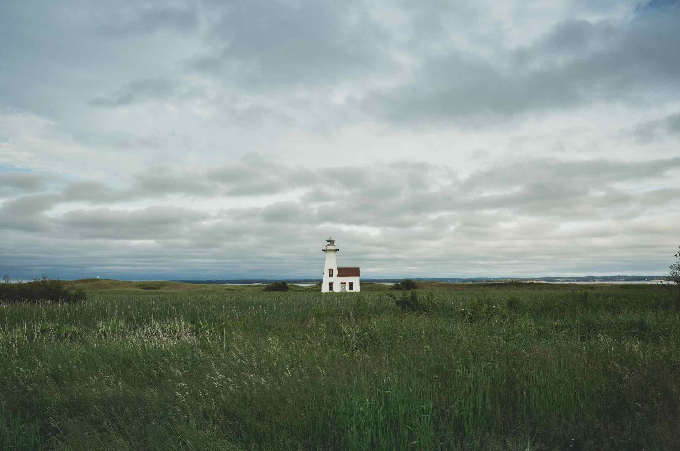 Scenery including lighthouse along the PEI mussel trail