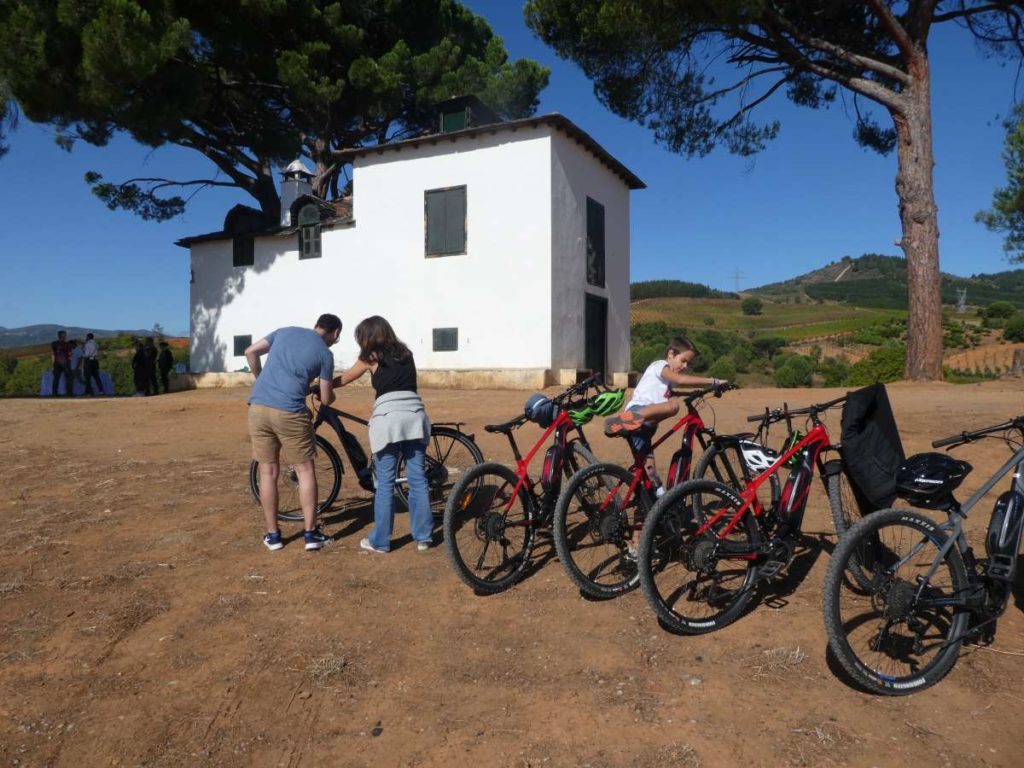 People getting their bikes ready at a winery along the Camino de Santiago