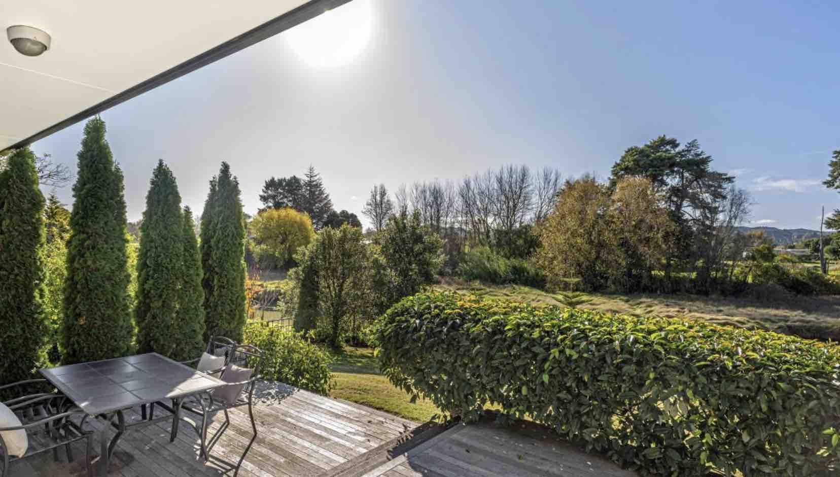 Te Hapara Riverside Home patio view