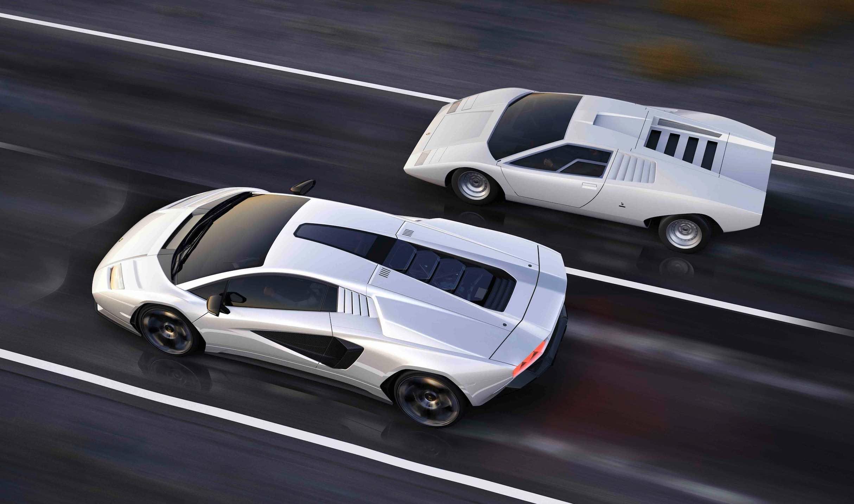 The incredible new Lamborghini Countach, seen here with its predecessor, celebrates a half-century heritage