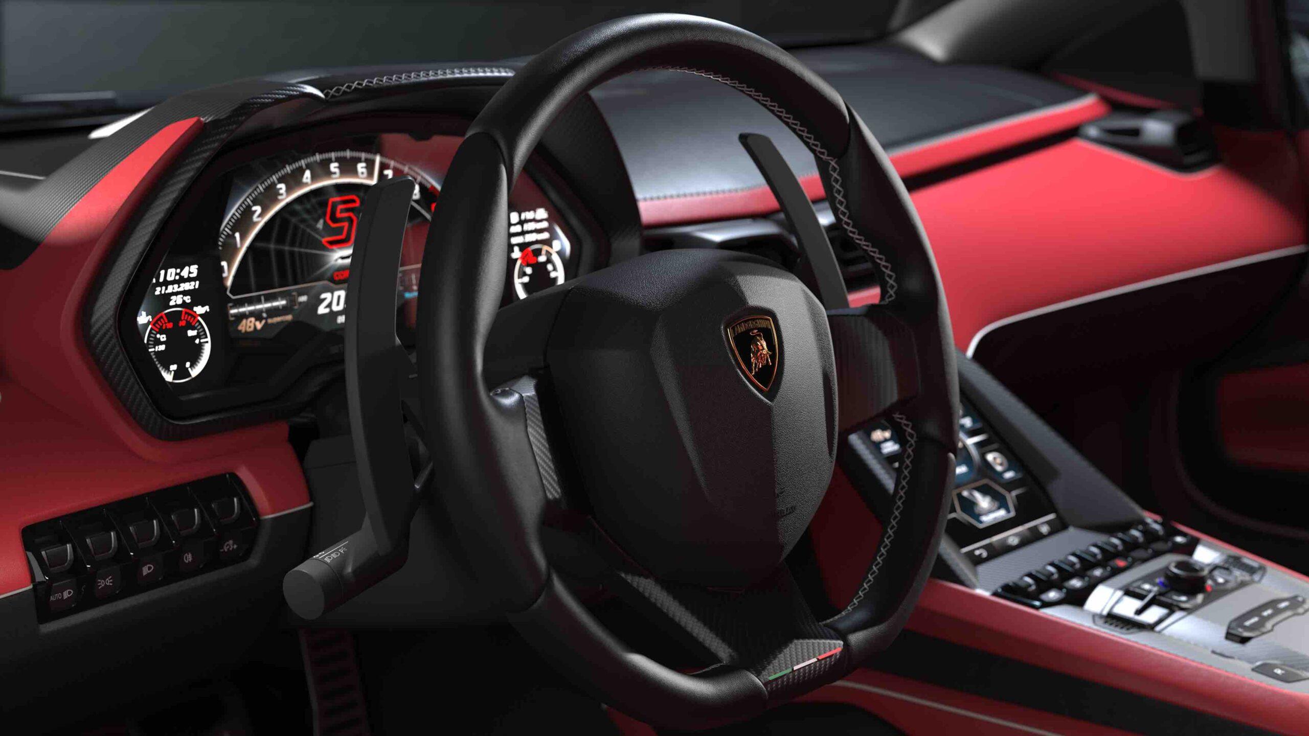 Lamborghini Countach red interior